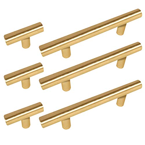 27 Pack Sunriver Hollow Cabinet Set 15pcs 3' Hole Centers Brass Cabinet Drawer Handles 5Inch and 12pcs Modern Round Bar 2in Gold Stainless Steel Kitchen Bathroom Hardware Pulls Knobs for Cupboard
