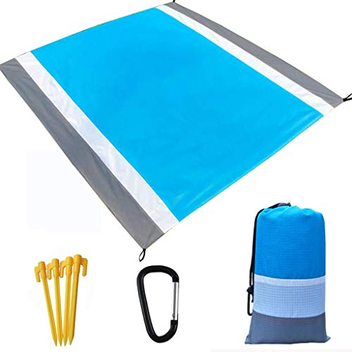 FIN86 Sandfree Beach Blanket - Huge Ground Cover 210X200CM - Best Sand Proof Picnic Mat for Travel, Camping, Hiking and Music Festivals - Durable Tarp with Corner Pockets (Blue)