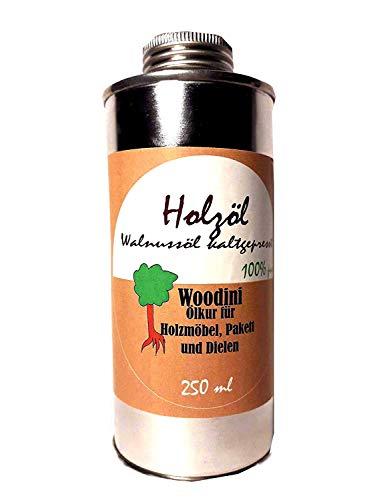 Woodini Holzöl, Ölkur für Holzmöbel Parkett, Dielen, Walnussöl, kalt gepresst, 250 ml