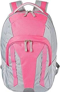 حقيبة ظهر دي إس جي خفيفة الوزن، لون رمادي ووردي، مع أكمام مبطنة للحاسوب المحمول رائعة للمدرسة والسفر