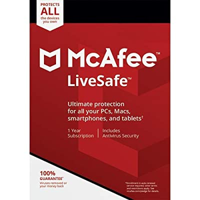 mcafee livesafe Internet Security Antivirus 2019 - Ultimate all in one Protection for Unlimited Devices [Activation Code Only]