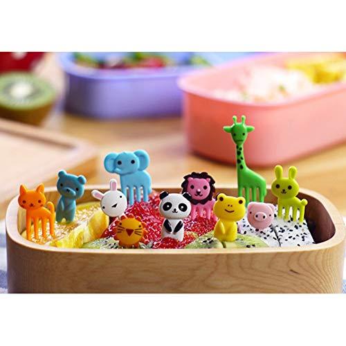 Hankyky 10Pcs Lovely Animal Food Fruit Picks Forks Cactus Animal Mini Cartoon Toothpick Bento Lunch Decorative