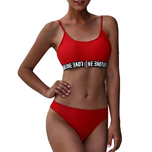 Sayhi Sexy Women Love Letter Print Bathing Suits Bikini Push-Up Padded Swimwear Set Girls Two Piece Swimsuit(Red,M)