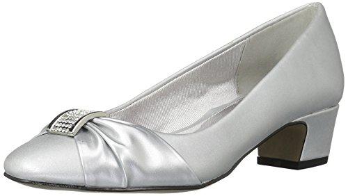 Easy Street womens Eloise Dress Pump, Silver Satin/Silver Easy Flex Dance Sole, 8.5 US
