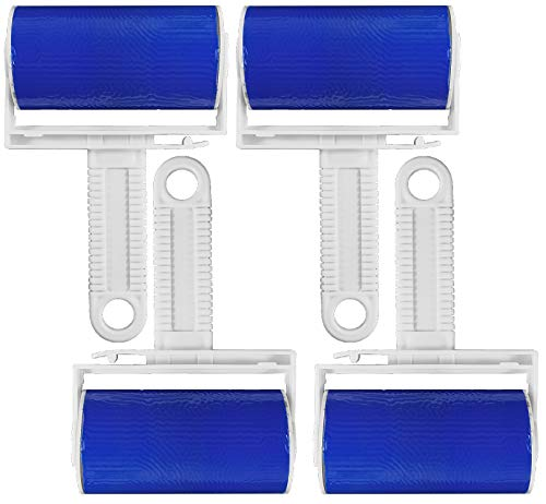 My-goodbuy24 4 x Fusselroller abwaschbar Dauerfusselroller Kleiderroller Endlos fusselrolle - zum Entfernen von Staub Haare Tierhaare Katzenhaare Hundehaare - Blau