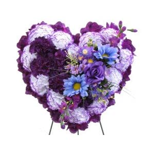 Deluxe Silk Floral Heart in Purple for Grave-site Presentation in Remembrance of Loved Ones. Easel Mounted