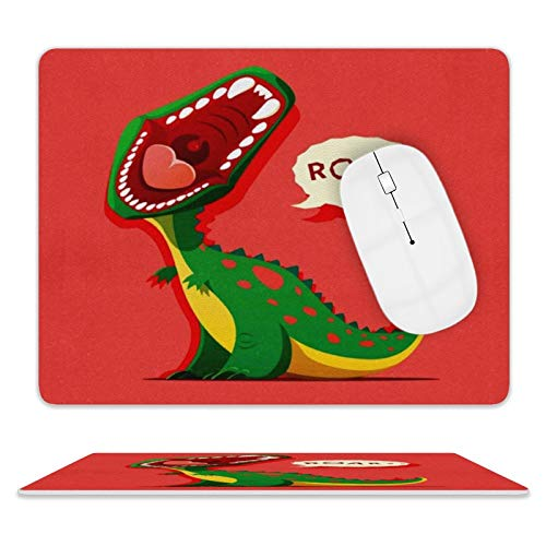 Leather Mouse Pad,Waterproof Mouse Mat with Stitched Edge Rubber Base Washable Mouse Pads for Office & Home 8'10' (Cartoon Funny Dinosaur)