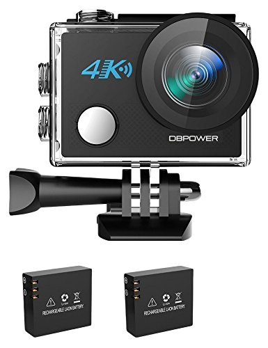 DBPOWER 4K Action Cam WIFI Sport Action Camera Full HD 20MP 170° Grandangolare,Telecamera subacquea con 2 batterie e accessori per nuoto, ciclismo e altri sport all'aperto (nuova versione 2017)