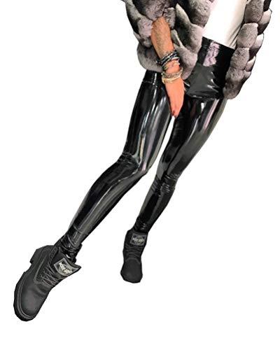 WYYSYNXB De Las Mujeres Sexy Cuero PU Cintura Alta Elasticidad Apretado Cremallera Piececitos Pantalones Club Nocturno Bar DS Cosplay Pantalones De Cuero S-3XL Código,Negro,XL