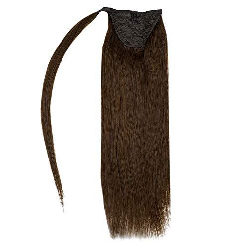 RUNATURE Ponytail Real Hair Farbe 4 Schokoladenbraun 16 Zoll 80g 1 Stück Pro Packung Glatt Gerade Pferdeschwanz Extensions Haarverl?Ngerungen Ponytail Extension Echtes Haar Extensions