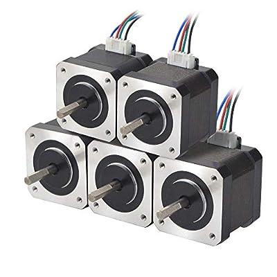 STEPPERONLINE 5 PCS Nema 17 Bipolar 45Ncm 1.5A 12V 42x39mm 4 leads w/ 1m Pin Connector for 3D Printer,CNC, XYZ Axis, Extruder
