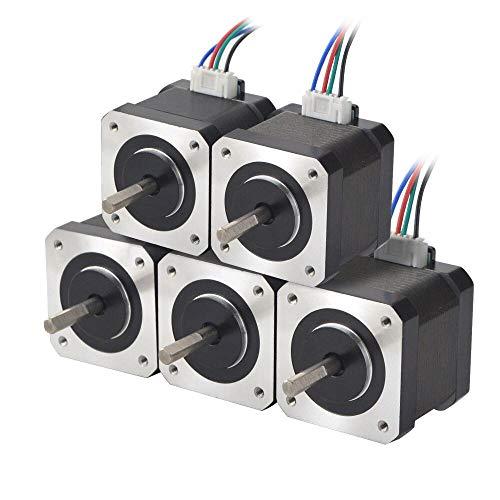 STEPPERONLINE 5PCS Nema 17 Schrittmotor 45Ncm 1.5A 12V 39mm 4-Draht 1.8 Deg Stepper Motor mit 1M Draht für 3D Drucker