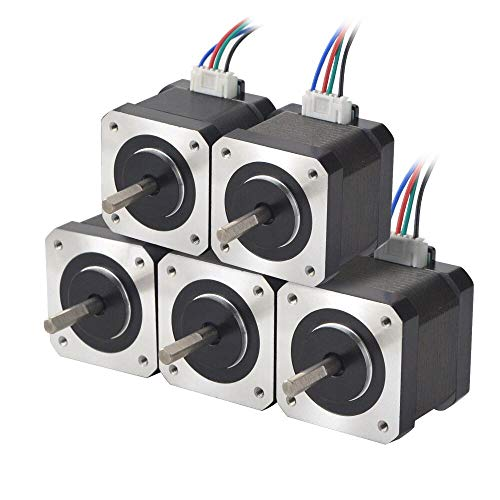 STEPPERONLINE 5PCS Nema 17 Stepper Motor 1.5A 12V 45Ncm (63.74oz.in) 4-Lead 39mm Body W/ 1m Cable and Connector for DIY CNC/ 3D Printer/Extruder