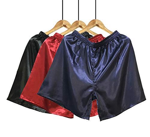 Wantschun Herren Satin Silk Schlafanzughose Nachtwäsche Boxershorts Kurz Pyjama Bottom Shorts Locker Unterhosen Unterwäsche Blau+Rot+Schwarz EU M