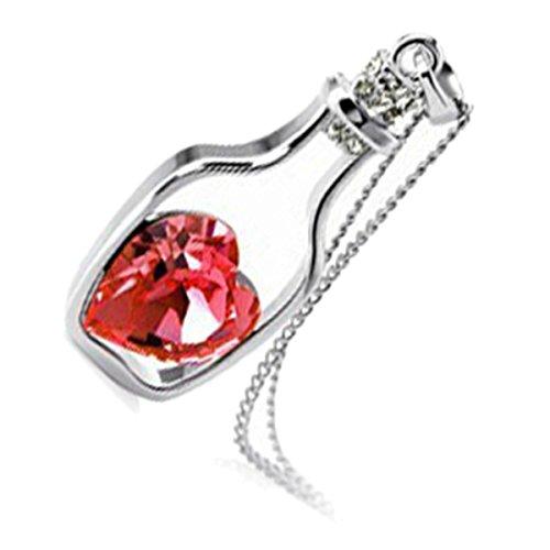 GWG Jewellery Collares Mujer Regalo Collar con Colgante, Bañado en Oro Blanco 18k Corazón de Piedra de Color Rubí Rojo Dentro de Botella de Deseos para Mujeres