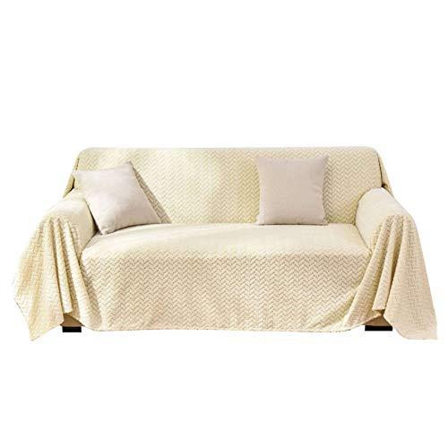 HALOUK Funda de Sofá 3 Plazas,Cubre Sofá 1 Pieza Suave Gruesas Funda para Sofá Antideslizante Poliéster Protector de Muebles Universal para Sala de Estar-Beige-1 Plaza 200×200cm(79×79in)