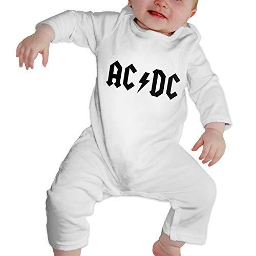 YtoaBmebqsu ACDC Long Sleeve1 Cute Infant Bodysuit White 18M
