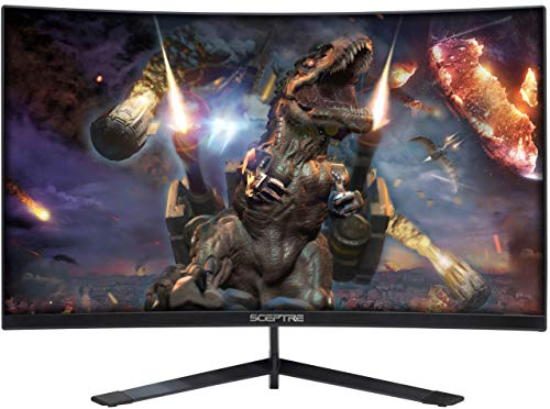 Sceptre 24-Inch Curved 144Hz Gaming LED Monitor Frame-Less FPS RTS FreeSync DisplayPort HDMI, Build-in Speakers Machine Black 2020 (24' Curved Gaming)