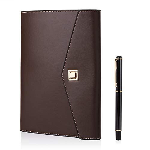 Bestoo Notitieboek, A5, navulbaar, leer, leaf business notebook, conferentiemap, reizen, molkerei, dagboek, 90 dikke pagina's koffie