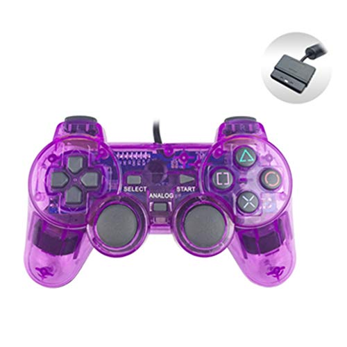 BakingMon Gamepad con Cable para Sony PS2 Controller Joystick para plasystation 2 Controle Transparent Purple