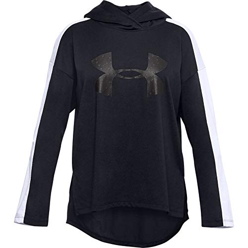 Under Armour Girls' Favorites Jersey Hoodie , Black (002)/Jet Gray , Youth Large
