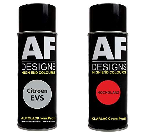 Autolack Spraydose Set für Citroen EVS Gris Metallic Basislack Klarlack Sprühdose 400ml