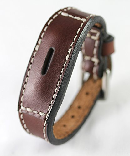 Fitbit Flex 2 Real Leather Band - Replacement Band for Fitbit Flex 2 - Full Grain Fit Bit Flex Band (Brown, Medium)