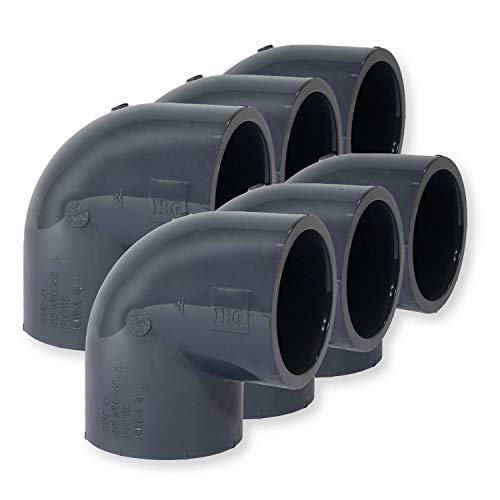 Paradies Pool GmbH PVC Fitting Winkel 90°, Ø 50mm mit Klebemuffen, Qualität aus Europa, Menge: 6 Stück