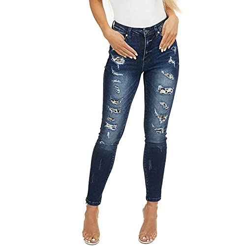 Pantalones Vaqueros Ajustados con Parche Rasgado con Estampado De Leopardo De Verano para Mujer