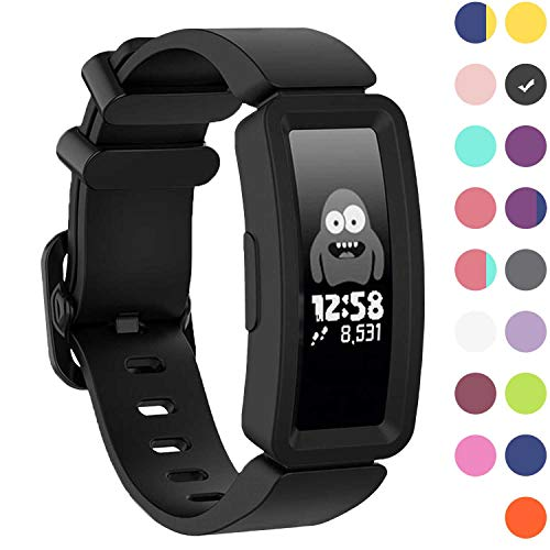 GVFM Compatible with Fitbit Ace 2 Bands for Kids 6+, Soft Silicone Bracelet Accessories Sport Strap Boys Wristbands Compatible for Fitbit Inspire HR & Ace 2 (Black)