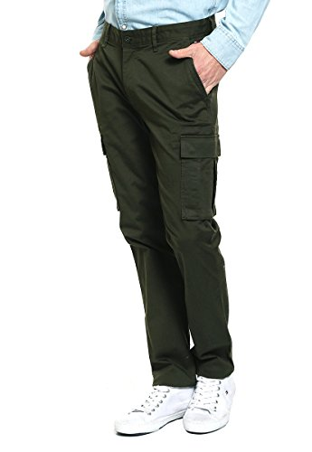 Tommy Jeans Hombre Basic Straight Cargp Pantalones, Verde (Forest Night 376), W28/L32