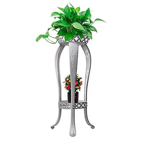3-H Estanteria para Macetas 2 Niveles Maceteros Porta Macetas Metal Decorativos Stand para Macetas Exterior Interior Jardín, 40x82x31cm(Blanco)