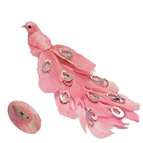 21cm Long Beaded Tail Peacock Clip on Bird Christmas Tree Decoration - Pink