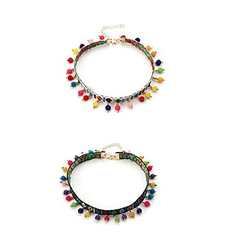 CHUANGOU 2pcs Collar Bohemio Collar Gargantilla, para Mujeres, niñas