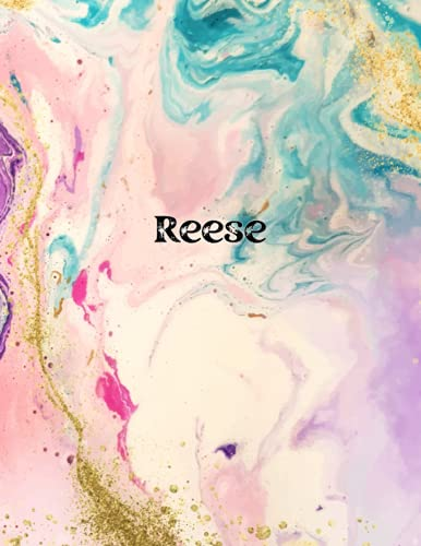 Reese: Cover Style Water Color - Personalized Name Notebook   Wide Ruled Paper Notebook Journal   For Teens Kids Students Girls  For Home School College   8.5 x 11 inch 160 pages
