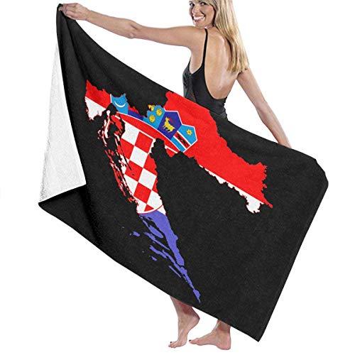 521 Croatia Flag Map Toallas De Baño Lujoso Toallas Baño Customed Toalla De Playa Durable Toalla De Piscina para Home Viaje Picnic,80X130Cm
