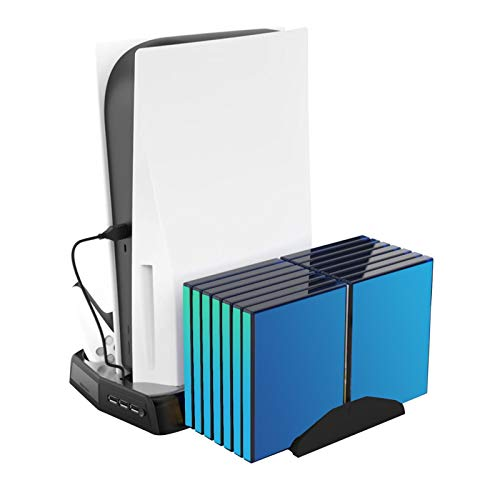 Soporte de refrigeración vertical compatible con la consola de juegos PS5, puerto de cargador + soporte de almacenamiento de disco de juegos retráctil, radiador de base doble para consola PS5