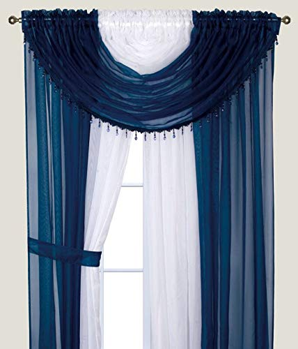 Sapphire Home Complete Window Sheer Curtain Panel Set with 4 Attached Panels (55x84 Each) and 2 Valances with Beads and 2 Tiebacks - Easy Installation- Multicolor Navy and White