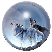 Waltz&F直径約70MM ローンウルフデザイン k9クリスタル 半球 水晶 文鎮 ペーパーウェイト プレゼント 置物 装飾品