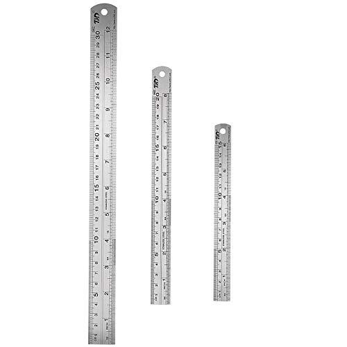 Bestgleステンレス直尺 定規 長さ測定 直線定規 測定工具 両側 センチメートル・インチ表示 ステンレス定規 測量用品 定規 測定スケール150mm/200mm/300mm シルバー