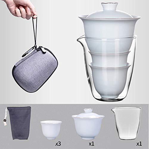 Juegos de té de Porcelana, Viajes portátiles, Oficina en casa, Tazas de Gaiwan, cerámica con Bolsa, Juego de Tetera de Porcelana de Hueso, Juego de Juegos de té de la Tarde en inglés