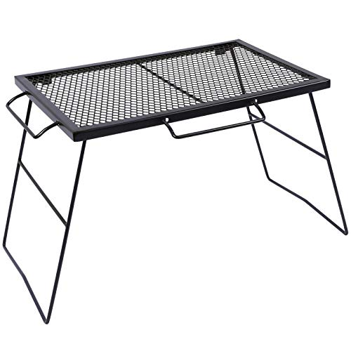 REDCAMP 2 in 1 Folding Camping Grill Grate, Folding Grill Table for Camping Portable Over Fire Camp Grill for Outdoor Open Flame Cooking 23.6x15.7x16.9/7.8""