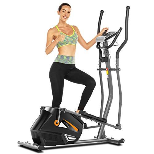 FUNMILY Elliptical Trainers, Magnetic Eliptical Exercise Machines with 3D Virtual APP Control & 10 Level Magnetic Resistance, Quiet Driven for Home & Indoor Workout & Fitness (Gray)