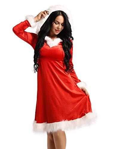 iEFiEL Weihnachten Party Kleider Damen Weihnachtsmann Kostüm Miss Santa Claus Kostüm Langarm Weihnachtskleider rotes Weihnachtsfrau Midi Kleid Rot A Small