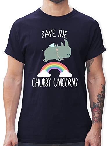 Statement - Save The Chubby Unicorns Regenbogen - M - Navy Blau - Shirt Einhorn Mann - L190 - Tshirt Herren und Männer T-Shirts