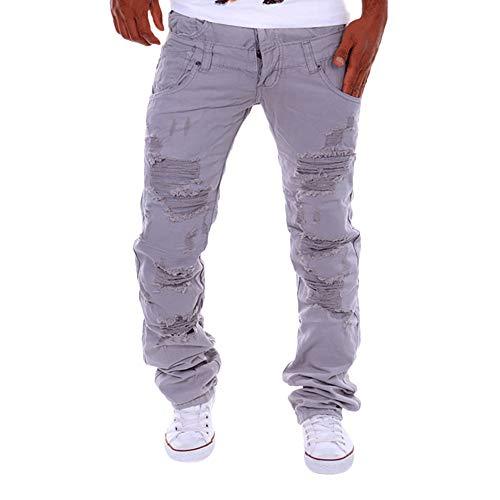 TEBAISE Herren Destroyed Slim Fit Denim Strech Jeans-Hose Stoffhose Pants Biker Jeanshosen Straight Stretch(Grau,28)