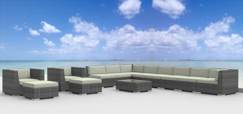 Hot Sale Urban Furnishing - NEWPORT 14pc Modern Outdoor Backyard Wicker Rattan Patio Furniture Sofa Sectional Couch Set - Beige