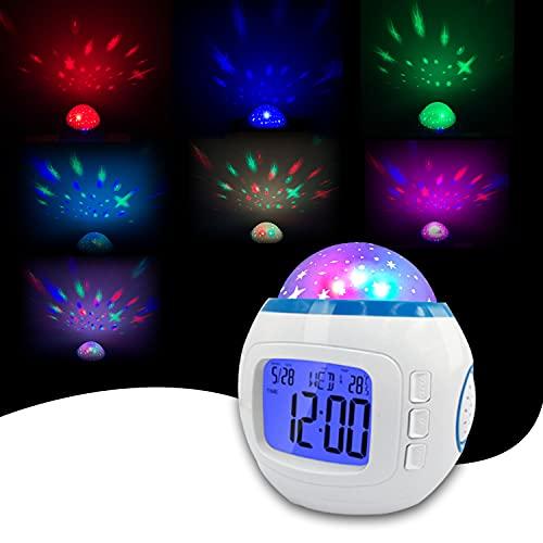 Kids Alarm Clock, Star Projector Night Light Alarm Clock for Kids, LED Night Light Clock Wake Up Easy Setting Digital Travel, Ceiling Projection Alarm Clock Music for Girls Bedroom Decoration