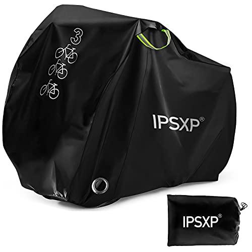 IPSXP Fahrradabdeckung Wasserdicht, Fahrradschutzhülle Fahrradträger für 3 Fahrräder Wasserfest Atmungsaktiv Regenschutz Schutzbezug 208x112x110CM - Schw