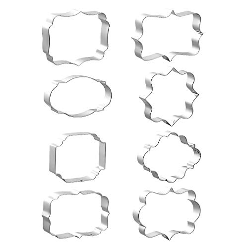 8 PCS Plaque Cookie Cutters Stainless Steel, Fondant Cutter Molds for Biscuit, Fruit, Bread - Square, Oval, Rectangle, Photo Plaques Frame